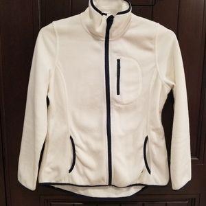 Nautica White Fleece Zip Up Sweater Women's Size L